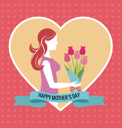 Happy mothers day heart woman bouquet vector