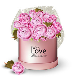 happy valentine card with peony flowers gift box vector image