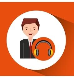 Headphones music cartoon businessman vector