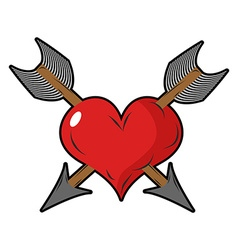 Heart and arrow two arrows pierced sign of love vector