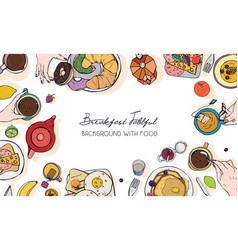 Horizontal advertising banner on breakfast theme vector