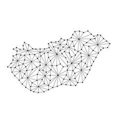 hungary map of polygonal mosaic lines network ray vector image