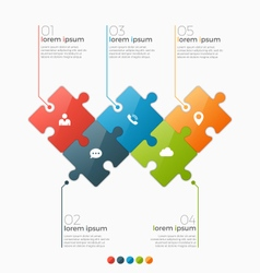 infographic template with 5 puzzle sections vector image