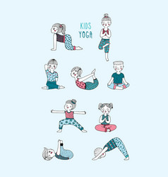 Kids yoga set children perform exercises asanas vector