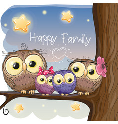 owls family are sitting on a branch vector image vector image