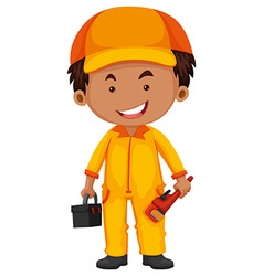 Plumber with toolbox and wrench vector image vector image