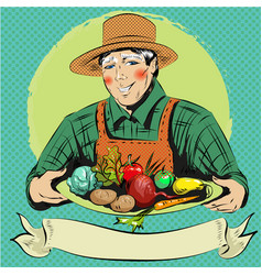 pop art of happy farmer with vector image vector image