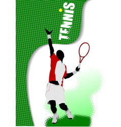 poster tennis player colored for designers vector image