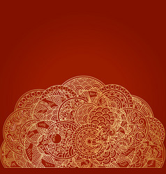 Red asian background with golden dragon ornament vector