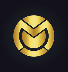 Round abstract letter m technology gold logo vector