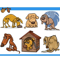 Sad stray dogs cartoon set vector