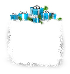 Snow frame with blue gift boxes vector image vector image