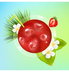 Strawberry Cocktail With Ice And Plumeria vector image