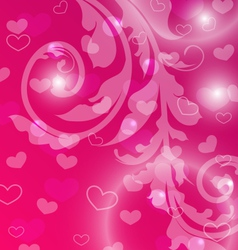 Valentine Day template with abstract floral vector image vector image