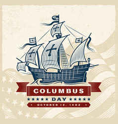 vintage columbus day label vector image