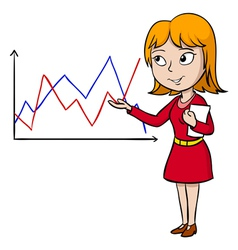Woman in red dress present graph vector image