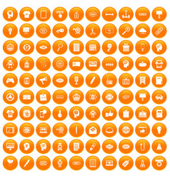 100 creative marketing icons set orange vector