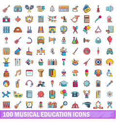 100 musical education icons set cartoon style vector image vector image