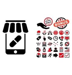 Online pharmacy flat icon with bonus vector