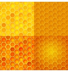 Seamless pattern with honey cells combs vector