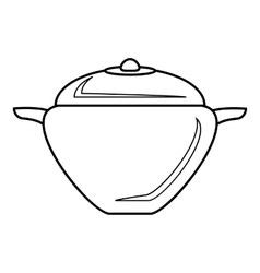 Pot with lid icon outline style vector