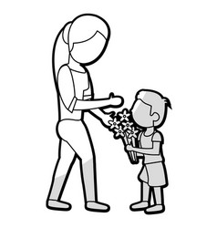 Son give flowers to mother vector