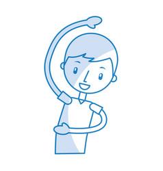 Cartoon boy stretching up vector