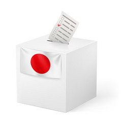 Election in japan ballot box with voicing paper vector