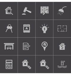 black rea estatel icons set vector image