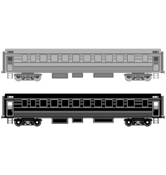 Railway passenger wagon vector