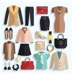 Businesswoman clothes icons vector