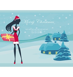 Happy new year card with santa girl and winter vector