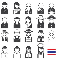 Various thai people occupation character icons set vector