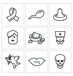 Aids and hiv infection icons vector
