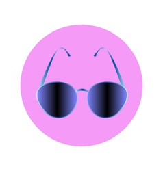 Sunglasses blue in circle vector