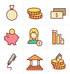 Icons style banking icons vector