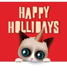 Happy holidays card with fun grumpy cat vector