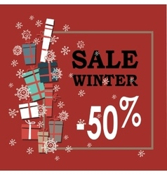 Winter sale background with white and black vector