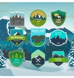 Set of outdoors adventure and expedition badges vector