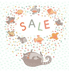 a cute cat and birds vector image vector image