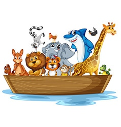 Animal on boat vector image vector image