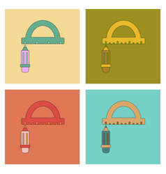 Assembly flat icons with thin lines pencil ruler vector