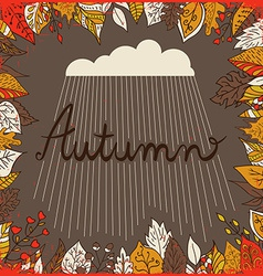 Autumn floral background with leaves text autumn vector image