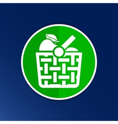 Basket icon with shadow and other picnic icons vector image