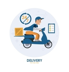 Blue motorcyle and package icon delivery and vector