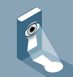 Book with keyhole and eye vector image vector image