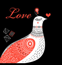 Bright greeting card love birds vector