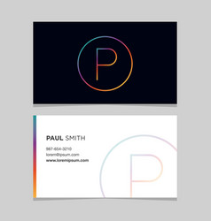 Business-card-letter-p vector