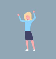 Business woman cheerful hold raised hands office vector
