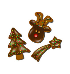 Christmas gingerbreads with chocolate vector